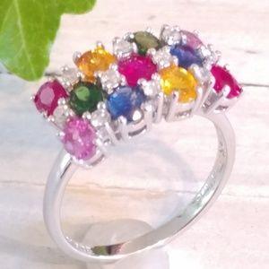 Jewelry - Vtg Estate 14K White Bold Diamond Gemstone Ring